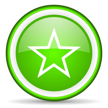 star green glossy icon on white background Stock Photo - 16623007