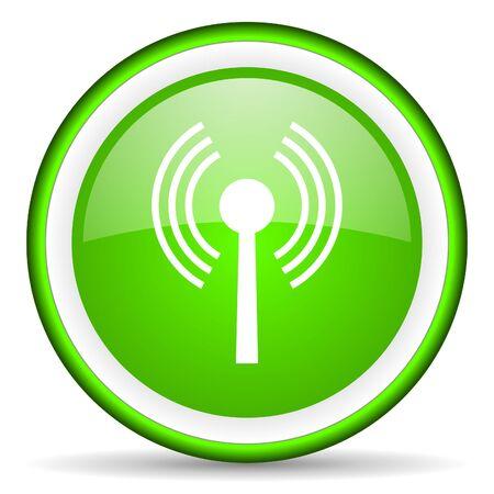 wireless hot spot: wifi green glossy icon on white background Stock Photo