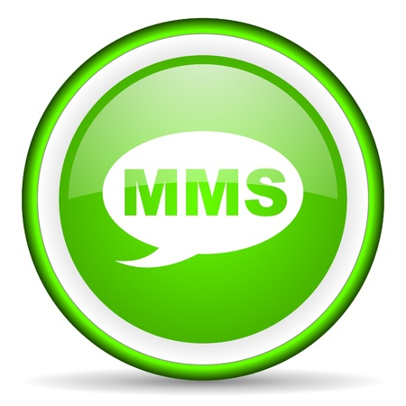 mms green glossy icon on white background photo