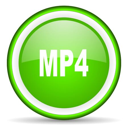 mp4: mp4 green glossy icon on white background Stock Photo