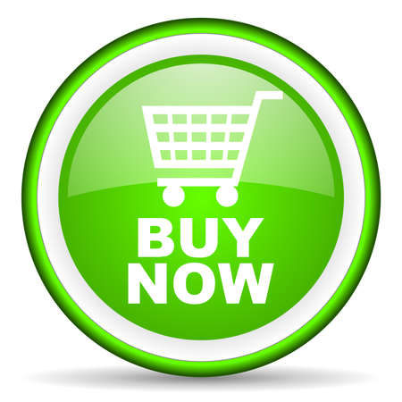 shopping cart icon: buy now green glossy icon on white background