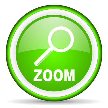 zoom green glossy icon on white background Stock Photo - 16623080