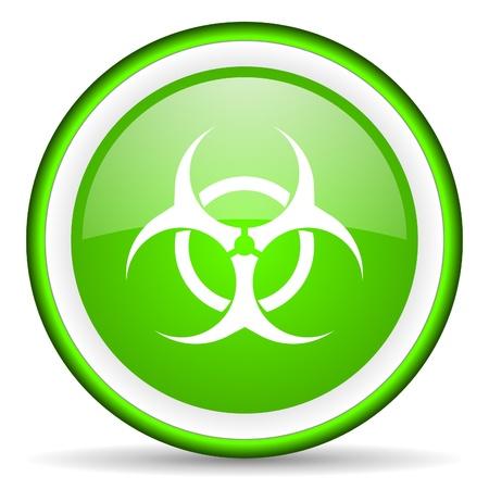 virus green glossy icon on white background Stock Photo - 16623086