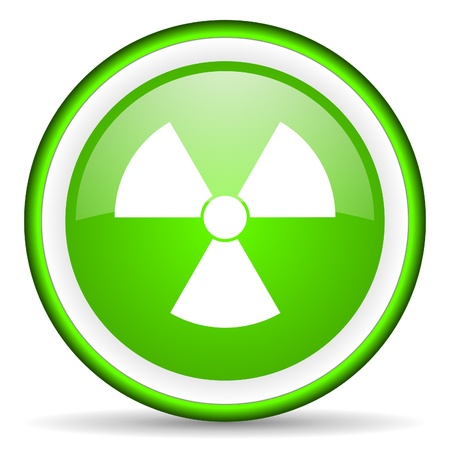 radiation green glossy icon on white background Stock Photo - 16622791