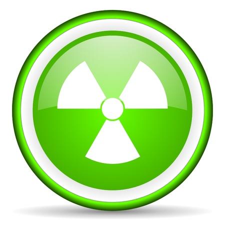 radiation green glossy icon on white background Stock Photo - 16622791