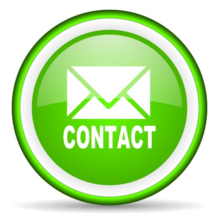 contact green glossy icon on white background photo