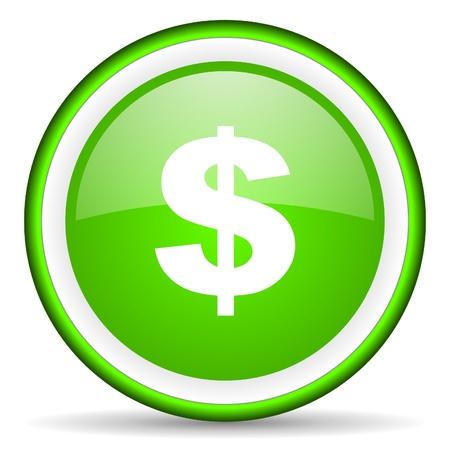 dollar icon: us dollar green glossy icon on white background