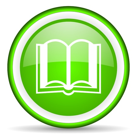 book icon: book green glossy icon on white background Stock Photo