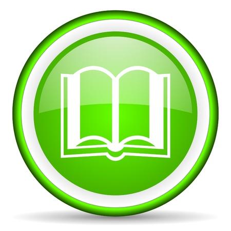 Buch green glossy Symbol auf weißem Hintergrund
