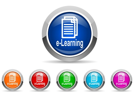 e-learning glossy icons on white background Stock Photo - 16623140