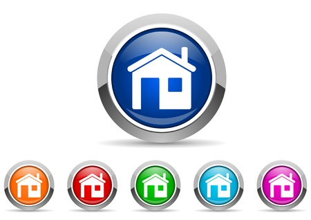 home glossy icons on white background Stock Photo - 16623108