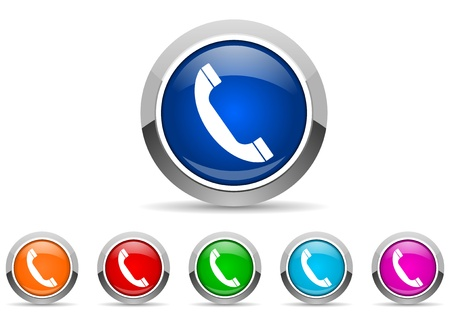 call us: phone glossy icons on white background