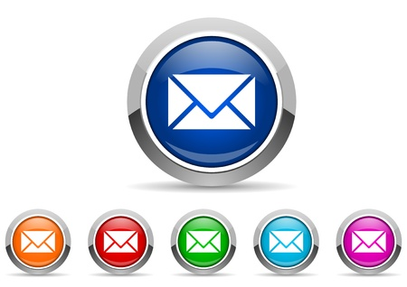mail glossy icons on white background Stock Photo - 16623109