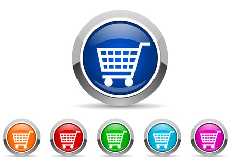 shopping cart glossy icons on white background photo