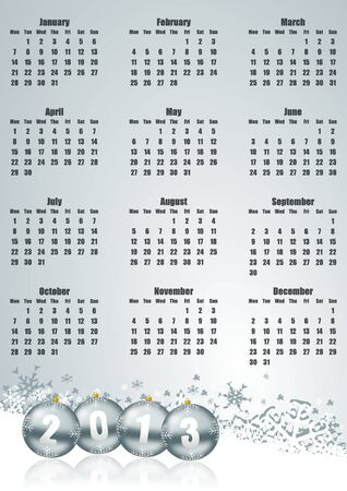 new year 2013 calendar with christmas balls and snowflakes photo