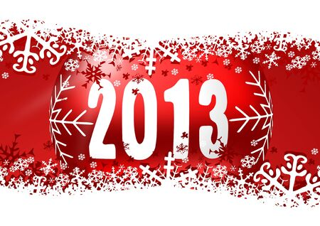 2013 new years illustration with christmas ball and snowflakes Stock Illustration - 16680838