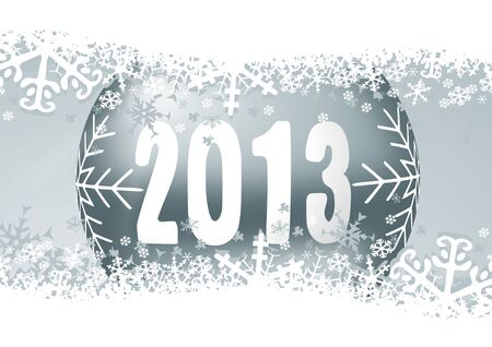 2013 new years illustration with christmas ball and snowflakes Stock Illustration - 16676637