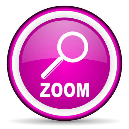 zoom violet glossy icon on white background Stock Photo - 16680768