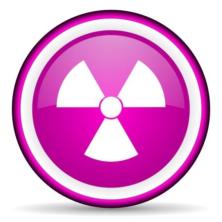radiation violet glossy icon on white background Stock Photo - 16679309