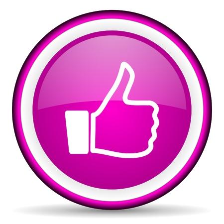 i like: thumb up violet glossy icon on white background