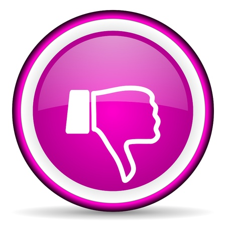 thumb down violet glossy icon on white background photo