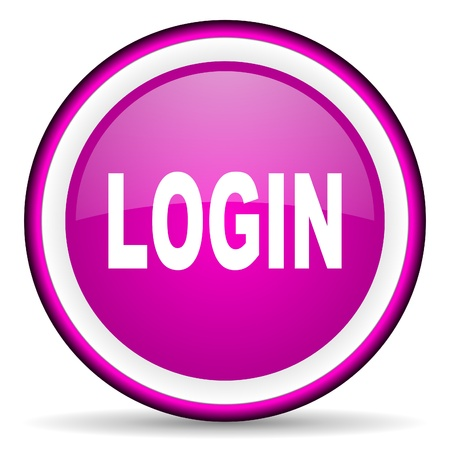 login violet glossy icon on white background Stock Photo - 16680516