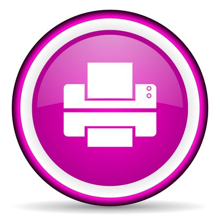 printer violet glossy icon on white background Stock Photo - 16679289