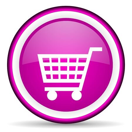 shopping cart violet glossy icon on white background photo