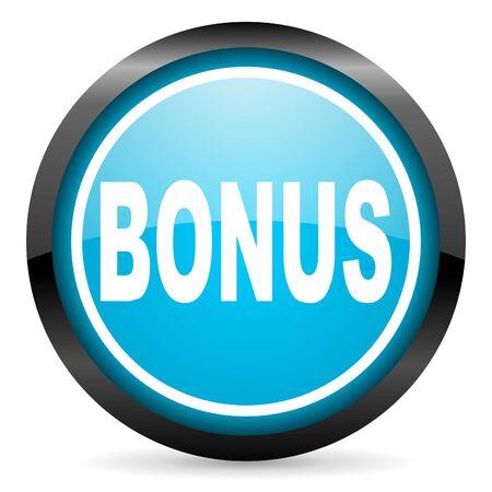 bonus blue glossy circle icon on white background photo