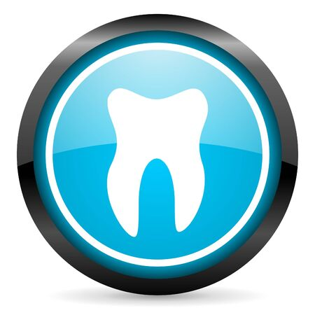 tooth blue glossy circle icon on white background photo