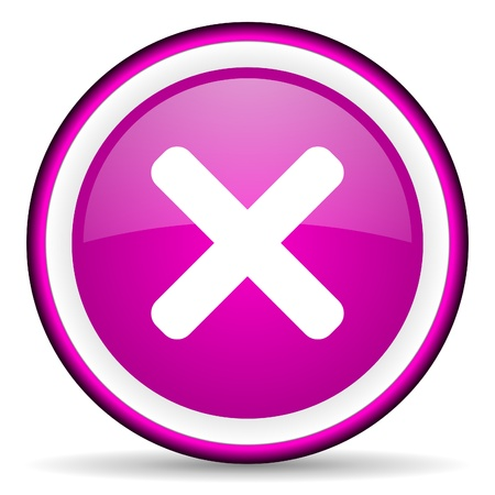 cancel violet glossy icon on white background photo