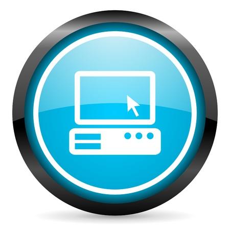 pc blue glossy circle icon on white background Stock Photo - 16677683