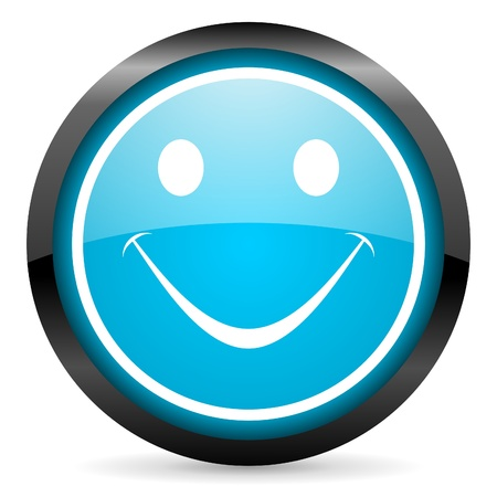 smile blue glossy circle icon on white background photo