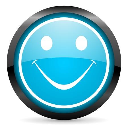 smile blue glossy circle icon on white background Stock Photo - 16677697