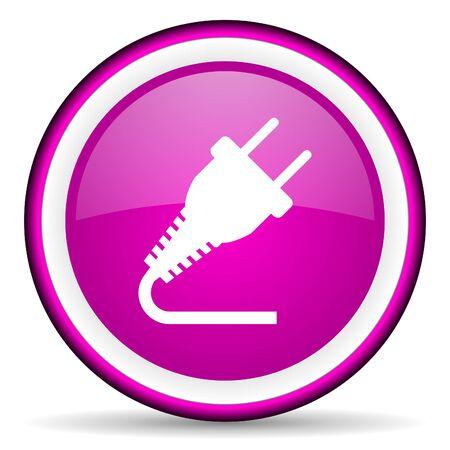 plug violet glossy icon on white background Stock Photo - 16680515