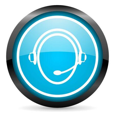 customer service phone: customer service blue glossy circle icon on white background Stock Photo
