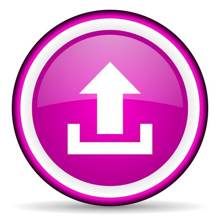 upload violet glossy icon on white background photo