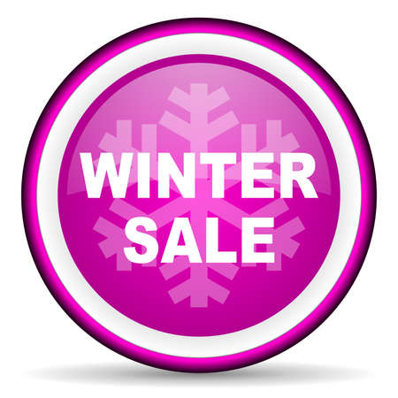 winter sale violet glossy icon on white background photo