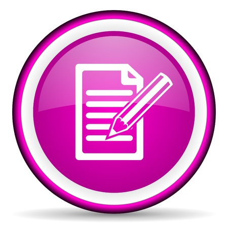 notes violet glossy icon on white background Stock Photo - 16680832