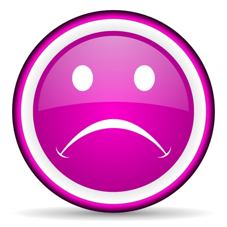 cry violet glossy icon on white background Stock Photo - 16680508