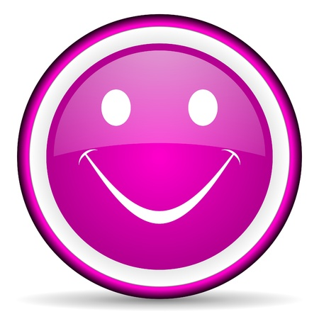 smile violet glossy icon on white background Stock Photo - 16680582
