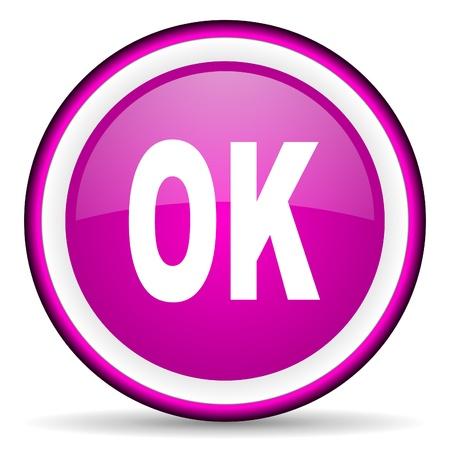 ok violet glossy icon on white background Stock Photo - 16680458