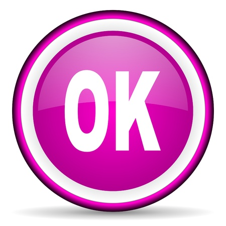 ok violet glossy icon on white background Stock Photo - 16680458