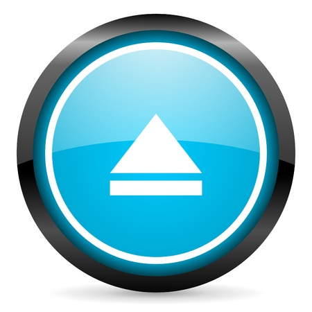 eject blue glossy circle icon on white background Stock Photo - 16674649