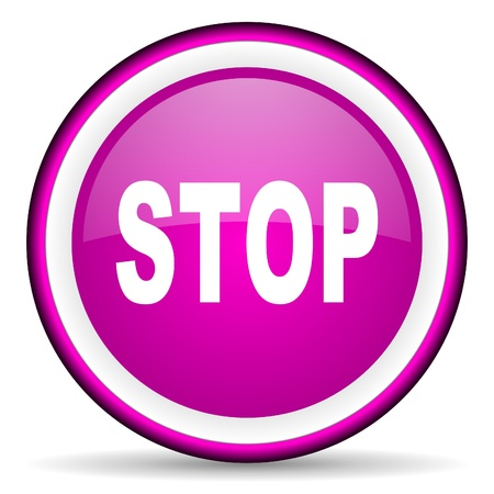 stop violet glossy icon on white background Stock Photo - 16680506