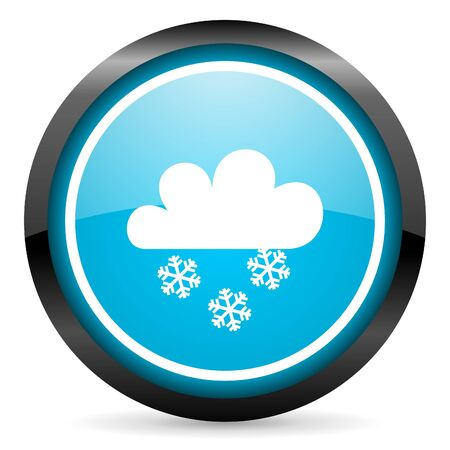 snow blue glossy circle icon on white background photo
