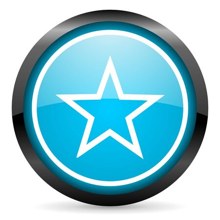 star blue glossy circle icon on white background Stock Photo - 16678591