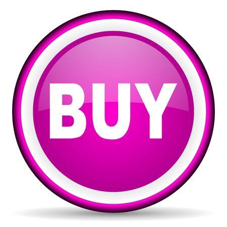 buy violet glossy icon on white background photo