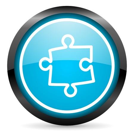 puzzle blue glossy circle icon on white background photo