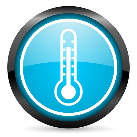 thermometer blue glossy circle icon on white background photo